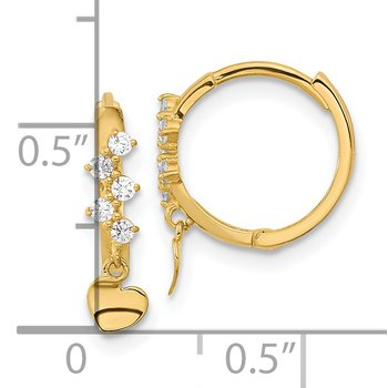 14k Madi K CZ Heart Dangle Hinged Hoop Earrings