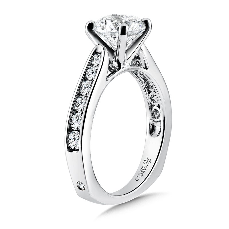 Caro74 Classic Elegance Collection Engagement Ring With Channel-Set Diamond Side Stones in 14K White Gold with Platinum Head (1-1/2ct. tw.)