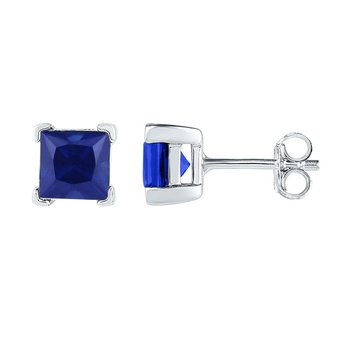 Sterling Silver Womens Princess Lab-Created Blue Sapphire Solitaire Stud Earrings 2.00 Cttw
