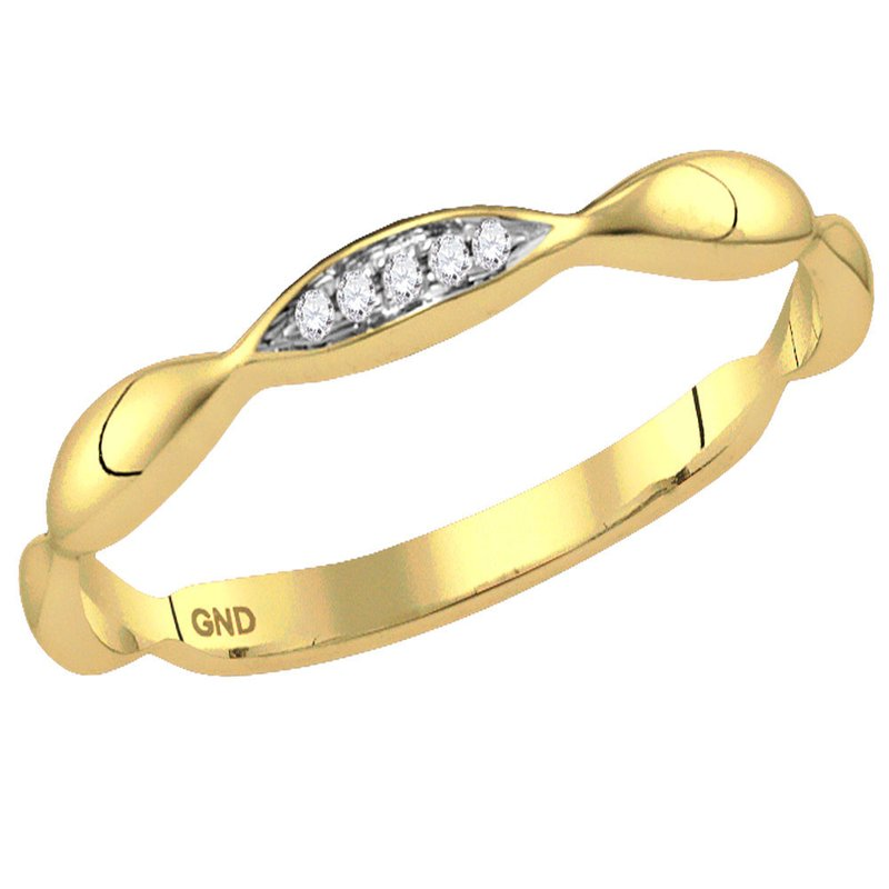 Kingdom Treasures 10kt Yellow Gold Womens Round Diamond Contour Stackable Band Ring .02 Cttw