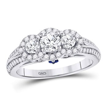 14kt White Gold Womens Round Diamond 3-stone Bridal Wedding Engagement Ring 1-1/5 Cttw