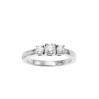14k  White Gold 1/2 ct 3 Stone Diamond Ring
