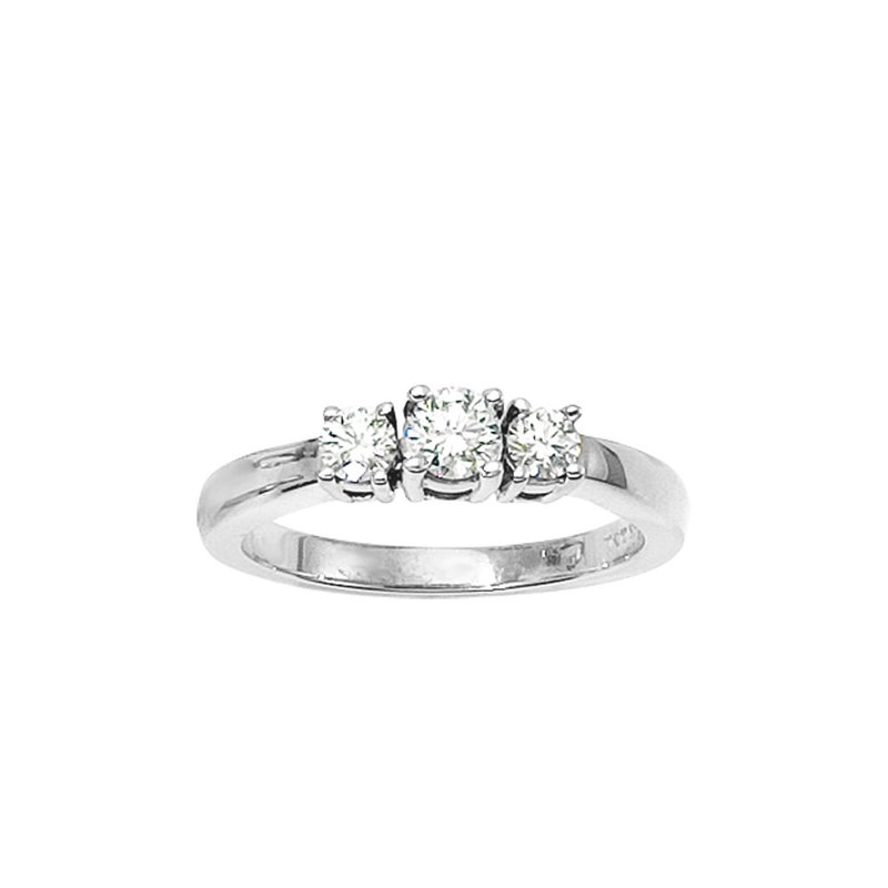 Color Merchants 14k  White Gold 1/2 ct 3 Stone Diamond Ring