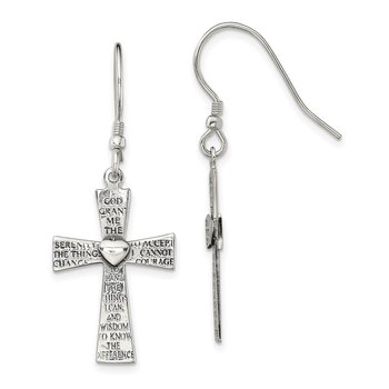 Sterling Silver Antiqued Serenity Prayer Cross Shepherd Hook Earrings