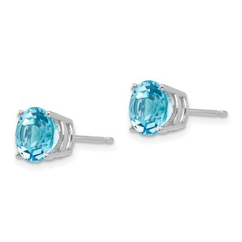 14k White Gold 7mm Blue Topaz Earrings