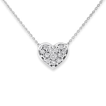 Diamond Heart Necklace in 14k White Gold with 12 Diamonds weighing .14ct tw.