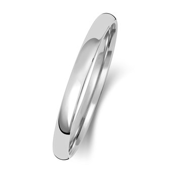 18Ct White Gold 2mm Slight Court Wedding Ring