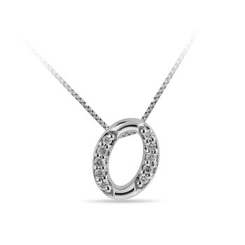"10K WG and diamond cursive alphabet O ""Chain Sliding "" pendant in prong setting"