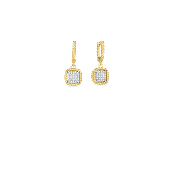#26771 Of 18Kt New Barocco Square Diamond Drop Earring