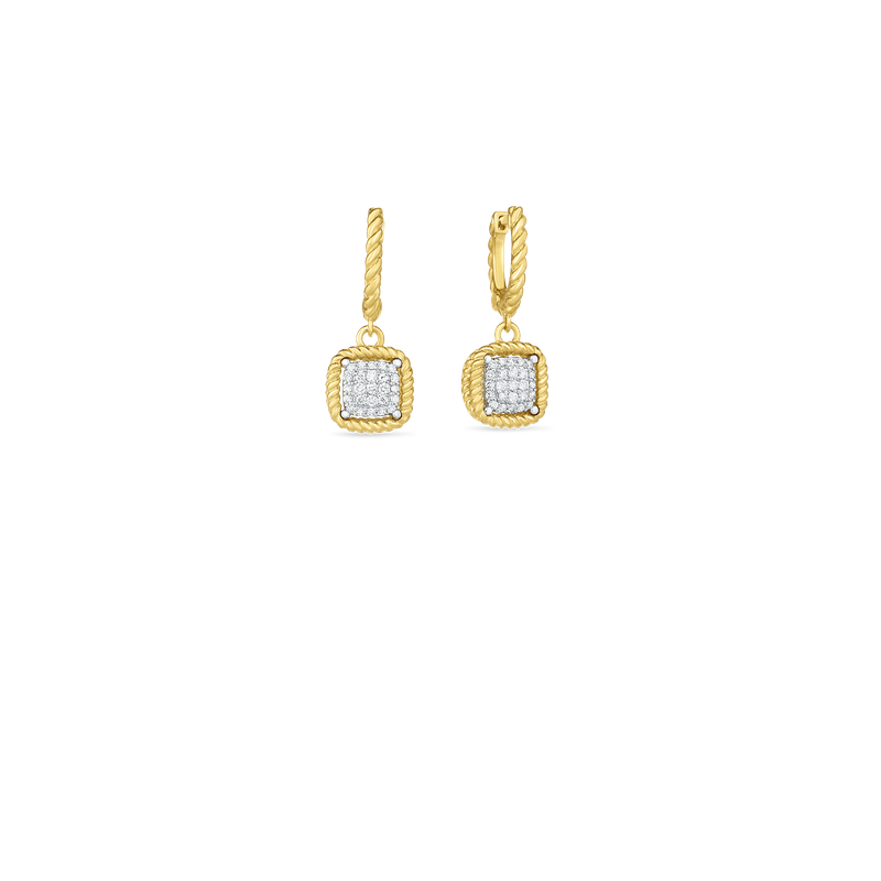 Roberto Coin 18KT NEW BAROCCO SQUARE DIAMOND DROP EARRING