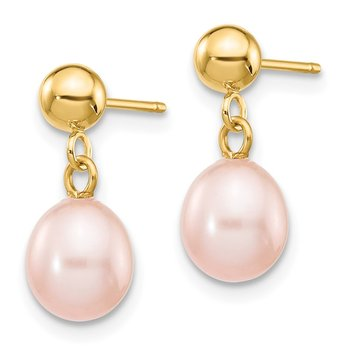14k 6-7mm Pink Rice Freshwater Cultured Pearl Dangle Post Earrings
