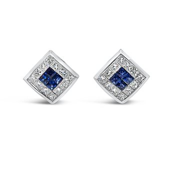 18K White Gold Diamond Natural Blue Sapphire Vintage Earrings