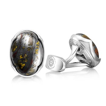 Oval Cabochon Cuff Links featuring Tiger Iron