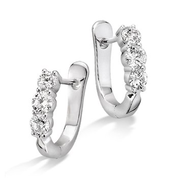 Prong Set set Diamond Hoop Earrings in 14k White Gold (1 ct. tw.) GH/SI1-SI2