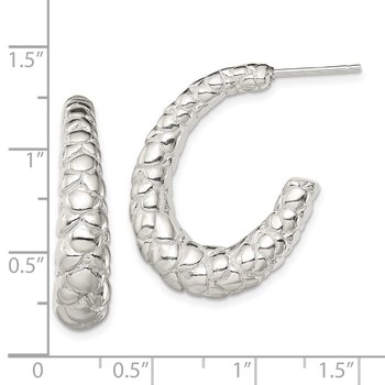Sterling Silver Polished Textured J-Hoop Earrings