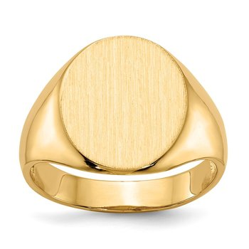 14k 14.0x13.0mm Open Back Mens Signet Ring