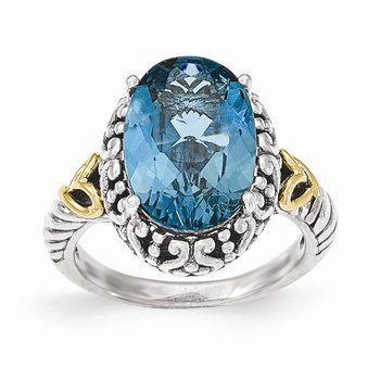 Sterling Silver w/14ky London Blue Topaz Oval Ring
