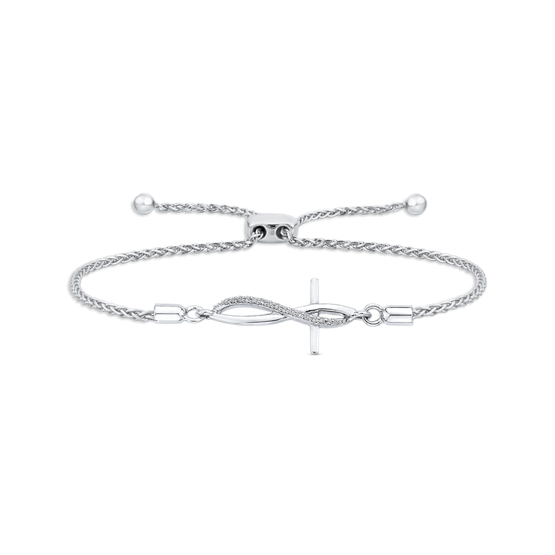 Essentials .06 ct Sterling Silver Diamond Bolo Bracelet