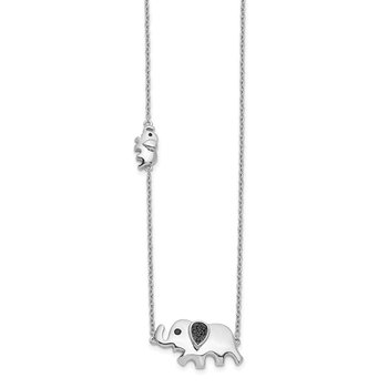 14k White Gold Black Diamond Elephant 18 inch Necklace