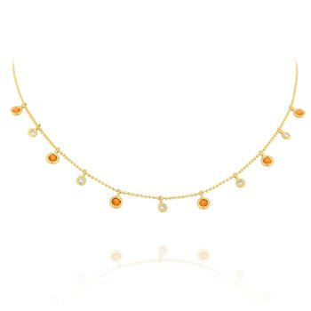 Diamond & Orange Sapphire Dew Drop Necklace Set in 14 Kt. Gold