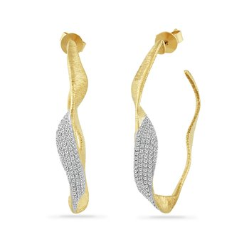 wide free form 14K hoop earring with 166 diamonds 0.50CT