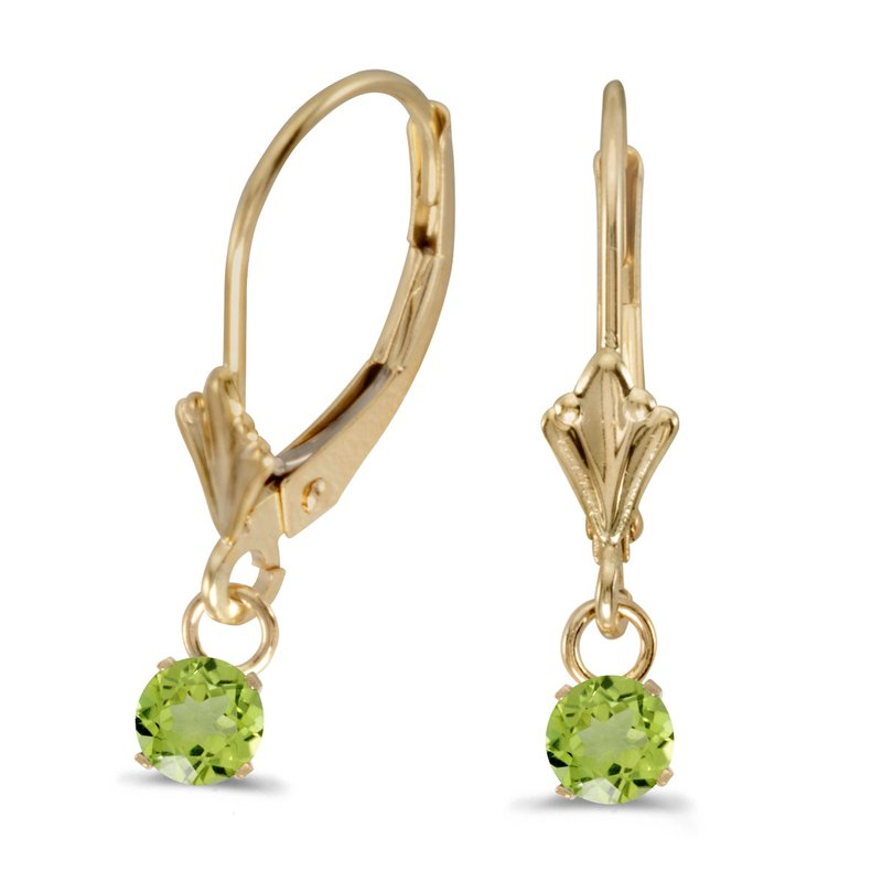 Color Merchants 10k Yellow Gold 5mm Round Genuine Peridot Lever-back Earrings