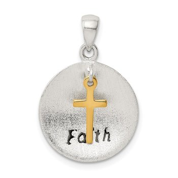Sterling Silver & Gold Tone Antiqued & Brushed Cross Pendant
