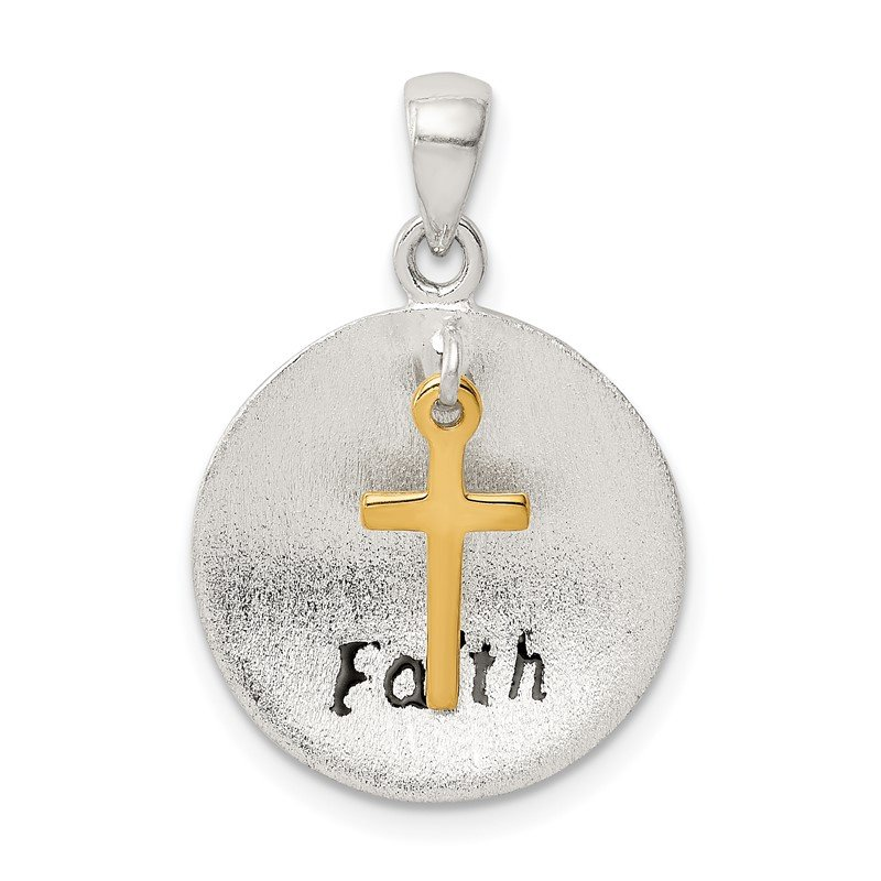 Quality Gold Sterling Silver & Gold Tone Antiqued & Brushed Cross Pendant