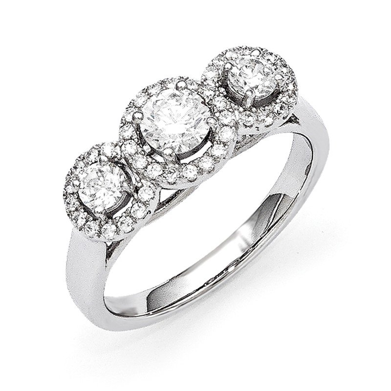 Quality Gold Sterling Silver & CZ Brilliant Embers 3 Stone Ring