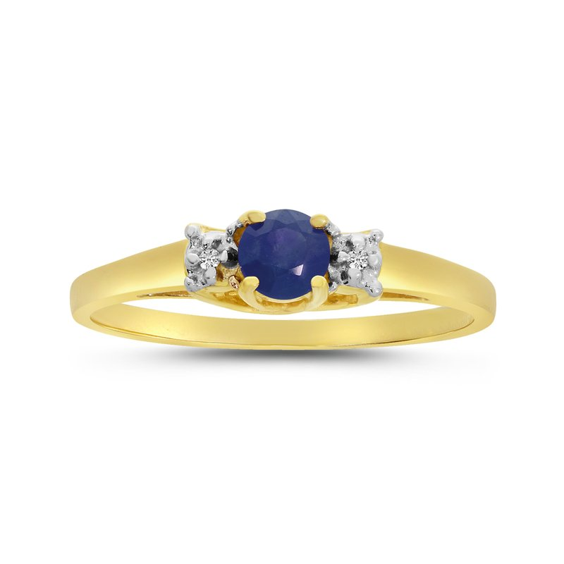Color Merchants 14k Yellow Gold Round Sapphire And Diamond Ring
