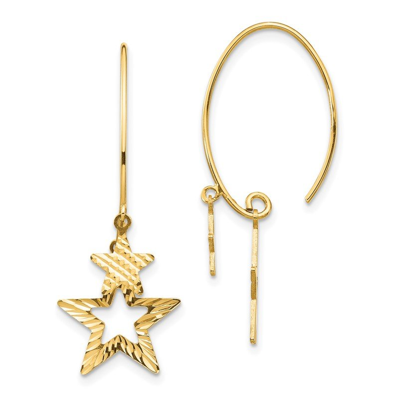 Quality Gold 14K Diamond-Cut Star Dangle Earrings