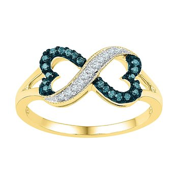 10kt Yellow Gold Womens Round Blue Color Enhanced Diamond Infinity Heart Ring 1/6 Cttw