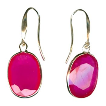 African Ruby Single Drop Earrings