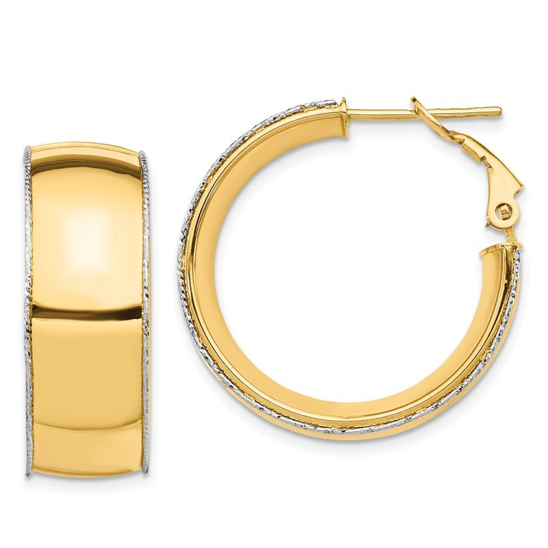Quality Gold 14ky 9.5mm w/ WG D/C Wire Accent Round Hoop Omega Back Earrings
