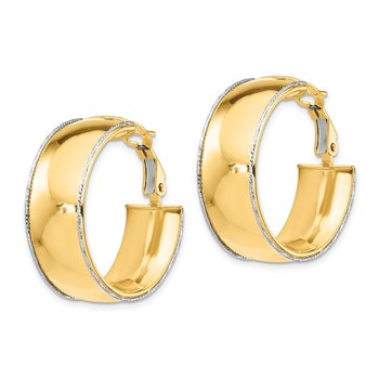 14ky 9.5mm w/ WG D/C Wire Accent Round Hoop Omega Back Earrings
