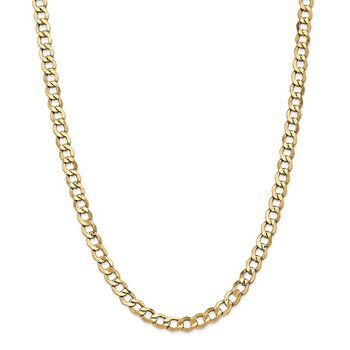 14k 6.5mm Semi-Solid Curb Chain