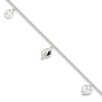 Sterling Silver Polished Hearts and Peace Sign 8in Plus 1in Ext Anklet