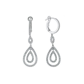 14k White Gold Diamond Dangle Earring
