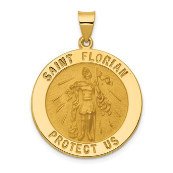 14k Polished and Satin St Florian Medal Hollow Pendant
