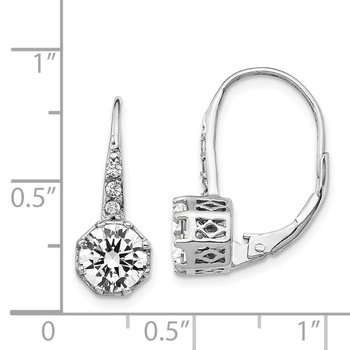 Cheryl M SS Polished CZ Leverback Earrings