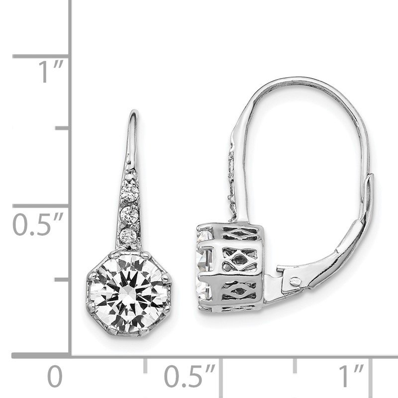 Cheryl M Cheryl M Sterling Silver Rhodium Plated Polished CZ Leverback Earrings