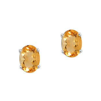 14k White Gold Oval Citrine Stud Earrings