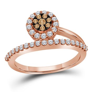 10kt Rose Gold Womens Round Cognac-brown Color Enhanced Diamond Cluster Ring 1/2 Cttw