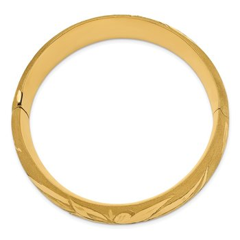 14k 13/16 Oversize Florentine Engraved Hinged Bangle Bracelet
