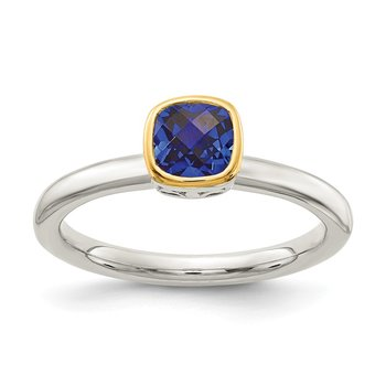 Sterling Silver w/ 14K Accent Created Sapphire Ring