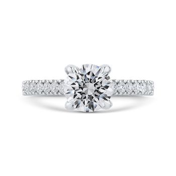 18K White Gold Round Diamond Engagement Ring with Euro Shank (Semi-Mount)