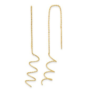 14k Polished Diamond-cut Spiral Threader Earrings