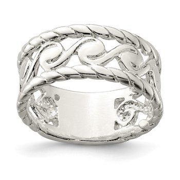 Sterling Silver Twisted Spiral Scroll Stacked Ring