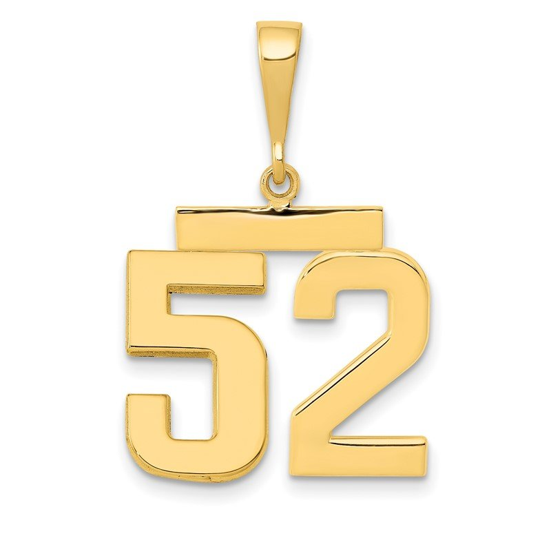 Quality Gold 14k Medium Polished Number 52 Charm