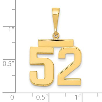 14k Medium Polished Number 52 Charm